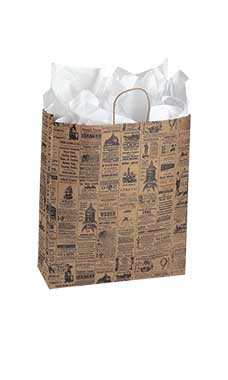 "Jumbo Newsprint Paper Shopping Bags 16"" X 6"" X 19"""