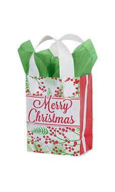 Small Holly Christmas Frosted Shopping Bags