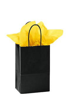 Small Glossy Black Paper Shopping Bags - Case of 25
