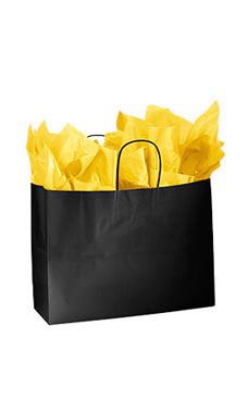 Large Glossy Black Paper Shopping Bags - Case of 100