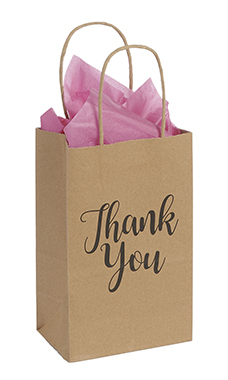 Small Kraft Thank You Paper Shopping Bags - Case of 100