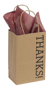 Small Kraft Thanks! Paper Shopping Bags - Case of 100