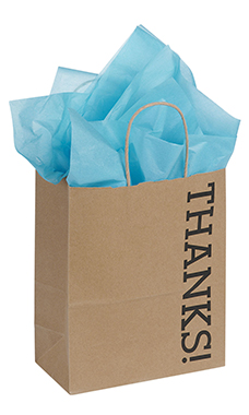 Medium Kraft Thanks! Paper Shopping Bags - Case of 100