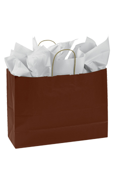 Large Chocolate Paper Shopping Bags - Case of 25