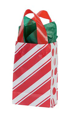Small Peppermint Stripes Frosted Shopping Bags