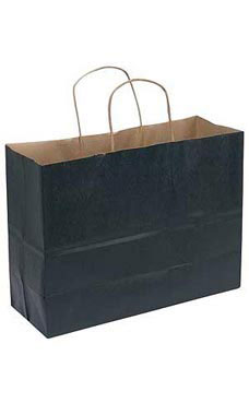Large Black Paper Shopping Bags - Case of 100