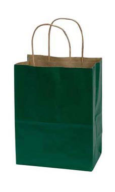 Medium Hunter Green Paper Shopping Bags - Case of 100