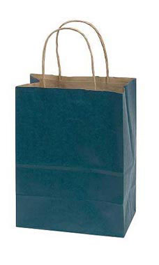 Medium Navy Blue Paper Shopping Bags - Case of 100