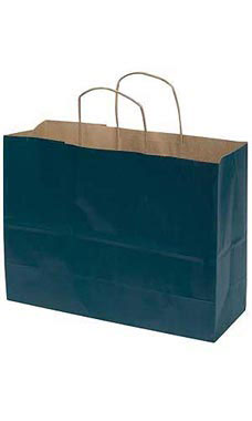 Large Navy Blue Paper Shopping Bags - Case of 100