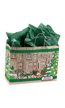 Large Street Scene Paper Shopping Bags - Case of 100