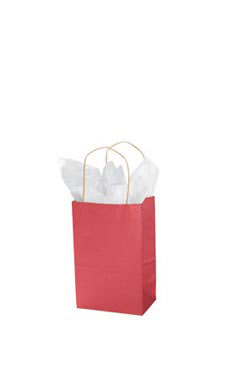 Small Red Paper Shopping Bags - Case of 100