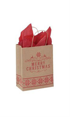 Medium Merry Christmas Paper Shopping Bags - Case of 100
