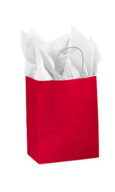 Medium Glossy Red Paper Shopping Bags - Case of 100