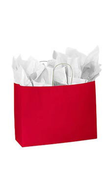 Large Glossy Red Paper Shopping Bags - Case of 100