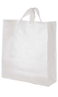 "Clear Frosted Plastic Shopping Bags- 16""x 6""x 19"" -100 Count"