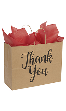 Large Kraft Thank You Paper Shopping Bags - Case of 100