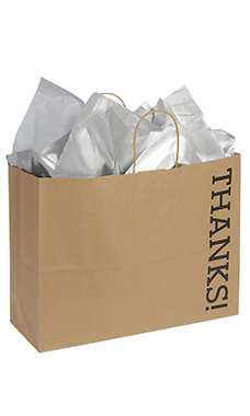 Large Kraft Thanks! Paper Shopping Bags - Case of 100