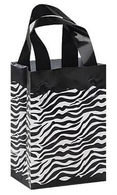 5 x 3 x 7 inch Zebra Frosted Plastic Shopping Bags - Case of 100