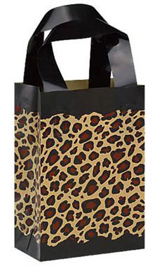 5 x 3 x 7 inch Leopard Frosted Plastic Shopping Bags - Case of 100