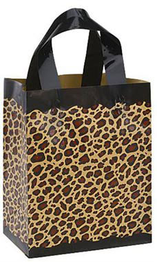 "Leopard Frosted Plastic Shopping Bags- 8""x 5""x 10"" -100 Count"