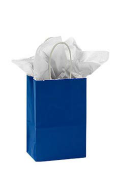 Small Glossy Royal Blue Paper Shopping Bags - Case of 25