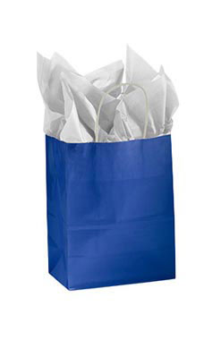 Medium Glossy Royal Blue Paper Shopping Bags - Case of 25