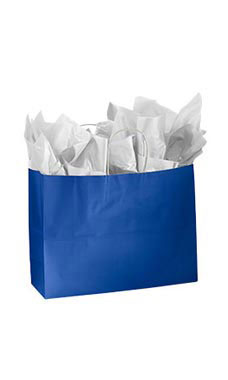 Large Glossy Royal Blue Paper Shopping Bags - Case of 100