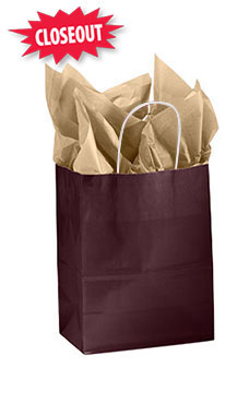 Medium Glossy Wineberry Paper Shopping Bags - Case of 25