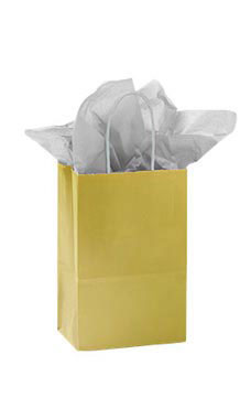 Small Glossy Gold Paper Shopping Bags - Case of 25