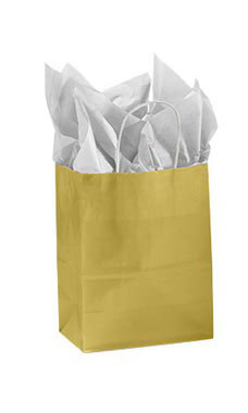 Medium Glossy Gold Paper Shopping Bags - Case of 25
