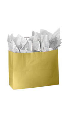 Large Glossy Gold Paper Shopping Bags - Case of 25