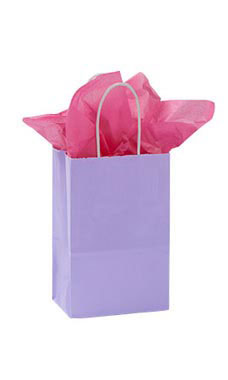 Small Glossy Lavender Paper Shopping Bags - Case of  25