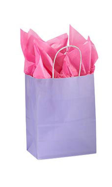 Medium Glossy Lavender Paper Shopping Bags - Case of 100