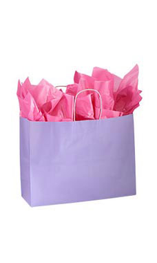 Large Glossy Lavender Paper Shopping Bags - Case of 100