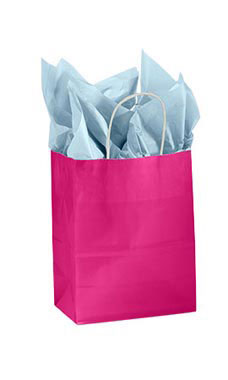 Medium Glossy Cerise Paper Shopping Bags - Case of 100