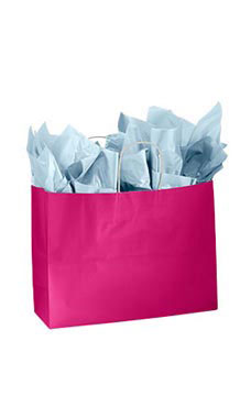 Large Glossy Cerise Paper Shopping Bags - Case of 100