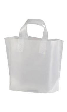 Wholesale Plastic Shopping Bags | Small Frosted Recycled Shopping Bag