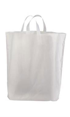 Recycled Clear Frosted Plastic Shopping Bags - Case of 250