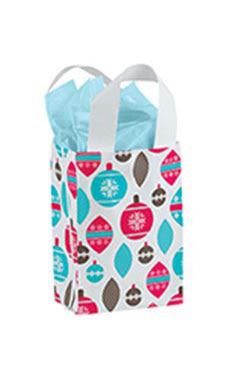 Small Holiday Ornaments Frosted Shopping Bags - Case of 25