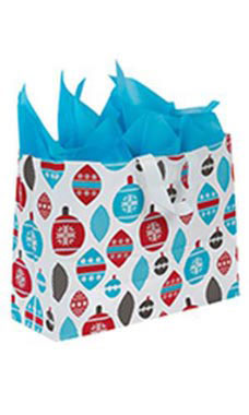 Large Holiday Ornaments Frosted Shopping Bags - Case of 25
