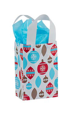 Small Holiday Ornaments Frosted Shopping Bags