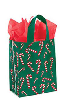 Medium Dancing Candy Cane Plastic Frosted Shopping Bags - Case of 100