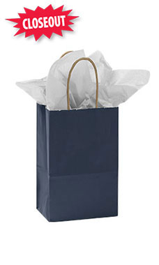 Small Glossy Navy Blue Paper Shopping Bags - Case of 100
