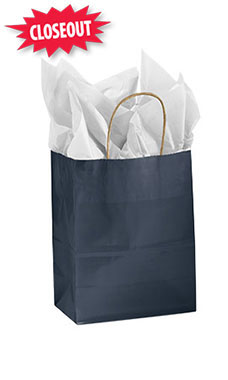 Medium Glossy Navy Paper Shopping Bags - Case of 100