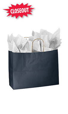 Large Glossy Navy Blue Paper Shopping Bags - Case of 25