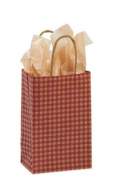 Small Red Gingham Paper Shopping Bags - Case of 100
