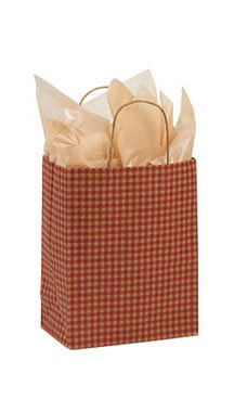 Medium Red Gingham Paper Shopping Bags - Case of 100
