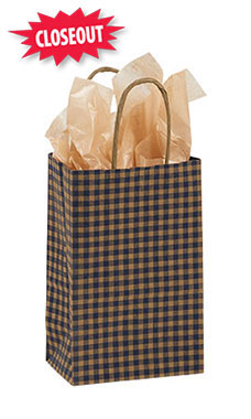 Small Blue Gingham Paper Shopping Bags - Case of 100