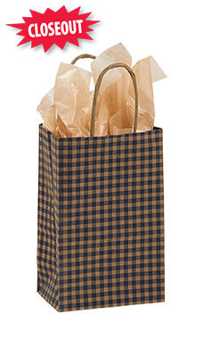 Small Blue Gingham Paper Shopping Bags - Case of 25