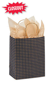 Medium Blue Gingham Paper Shopping Bags - Case of 100